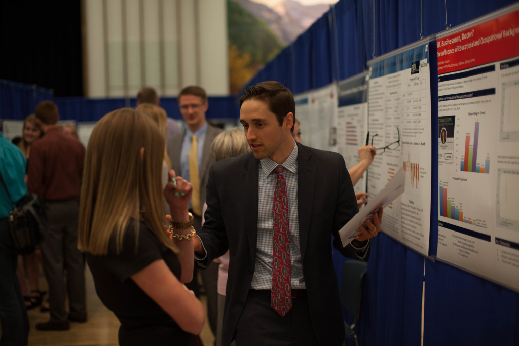 "Political science student Michael Sean T. Covey presenting his research ""JD, Businessman, Doctor? The Influence of Educational and Occupational Backgrounds on Legislative Effectiveness."""