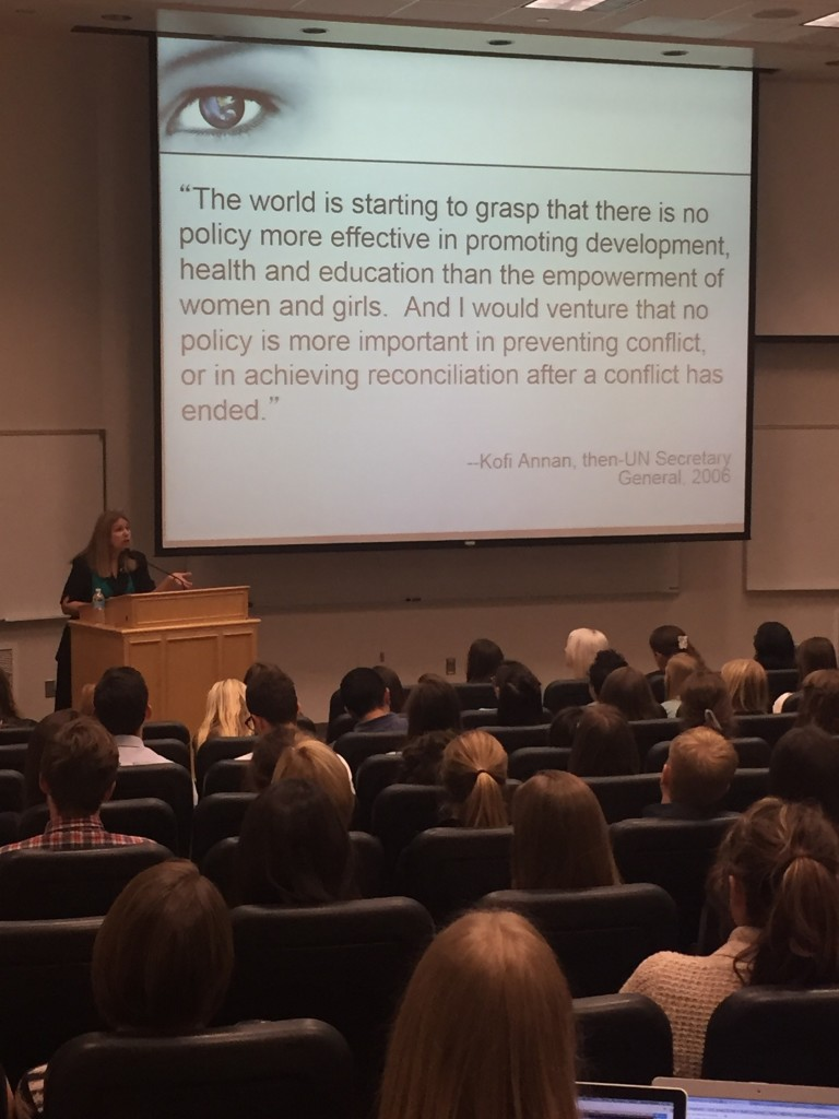 Dr. Valerie Hudson lectures a captivated audience about gender relations around the world on Thursday, October 15. While teaching at BYU, Hudson began the WomanStats program, which has grown to be the largest database about the status of women in the world.