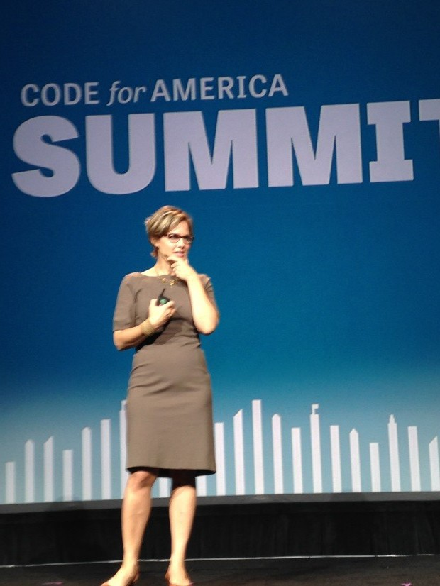 Jennifer Pahlka, Code for America Founder, speaks at the opening ceremonies.