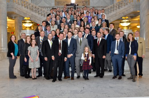 Members of the Salt Lake and student chapters of BYU PAS meet together at state capitol.